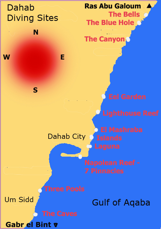 Our Favorite Diving Sites of Dahab from North to South - Descriptions Below the Map