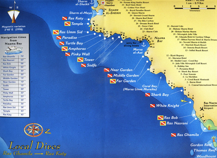 Diving Site Maps For Dive Sites Of The South Sinai Taba Dahab - Map of egypt hotels